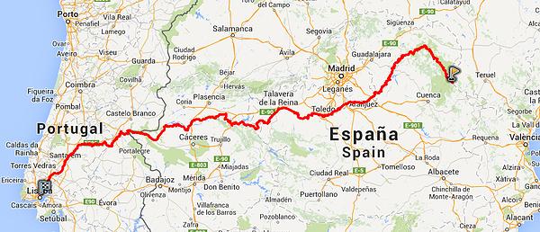 Trans-Ibérica BTT Tajo Tejo Vivo 2015 mapa