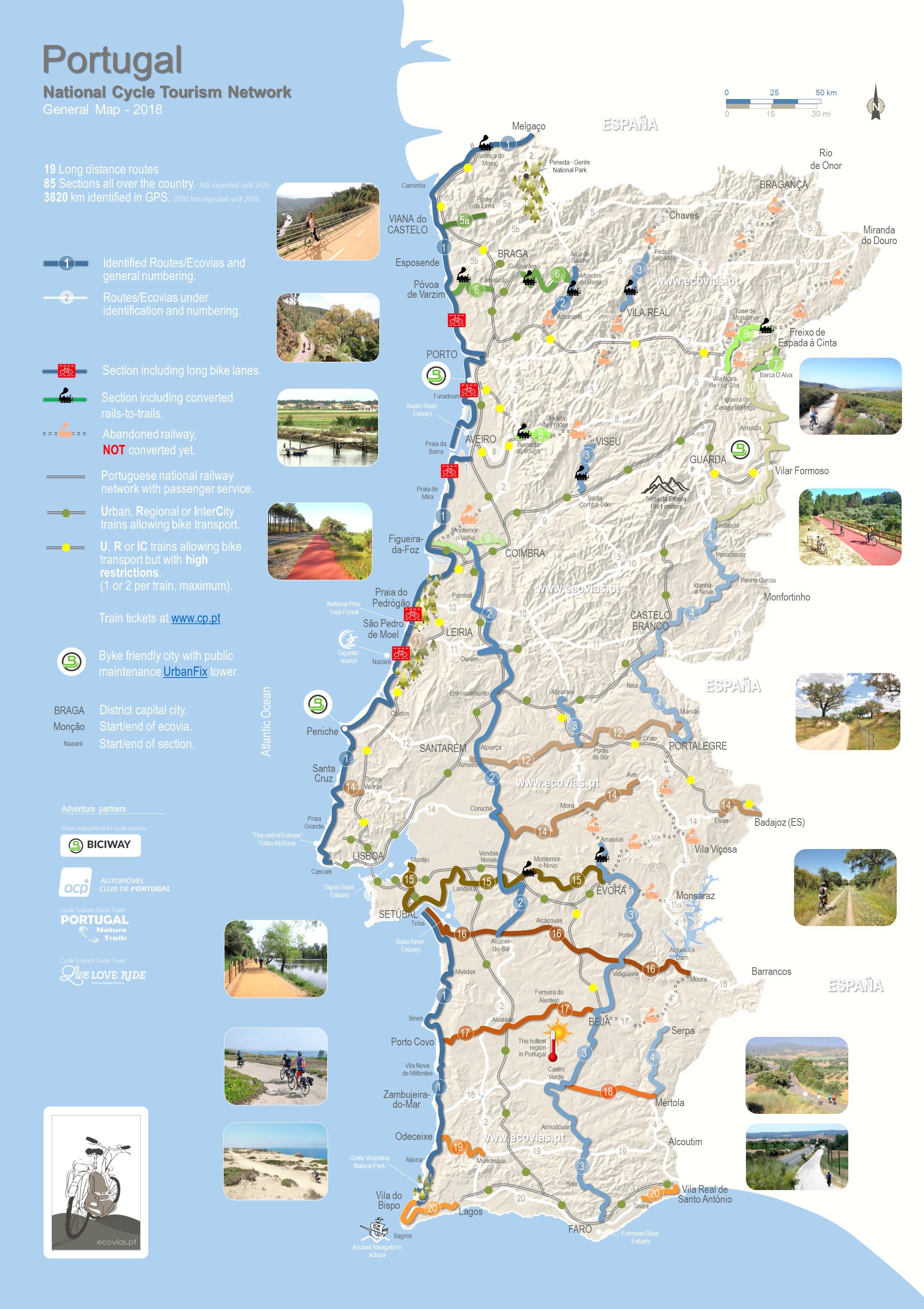 Mapa Geral 2018 da Rede Nacional de Cicloturismo