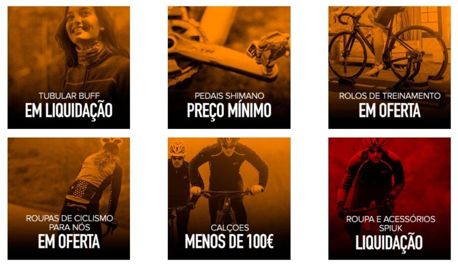 Como é o caso de Casacos, Calças, Luvas, Capacetes, Sapatilhas, Bicicletas,  Mochilas, Óculos, Bicicletas de Criança, Buff s, Pedais, Rolos de Treino,  ... ec95dfdd62