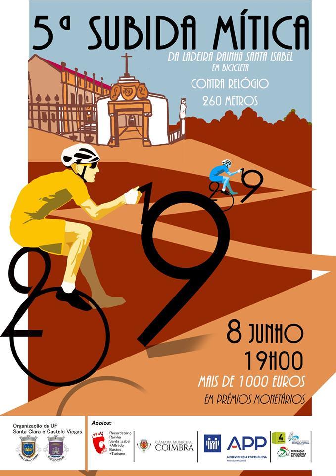 Dia 8 de Junho terá lugar a 5ª Subida Mítica Ladeira Rainha Santa Isabel em Bicicleta, com organização de Junta de Freguesia Santa Clara Castelo Viegas