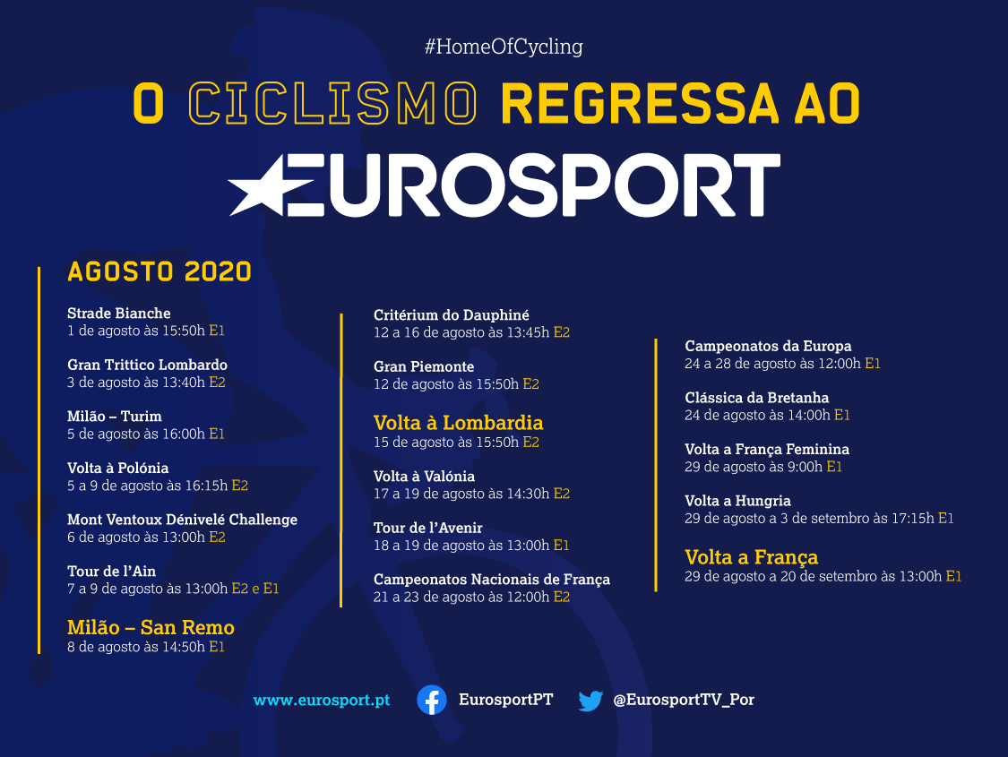 O ciclismo está de volta à estrada e há muito para ver em direto no Eurosport